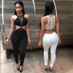 Fashion Night Clubwear Summer Sleeveless Hollow Sexy Women Jumpsuits Solid Patchwork Female Rompers black s