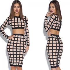 Sexy Slim Women Clothing Sets 2 Pcs Tops & Skirt Spring Autumn Plaid Night Clubwear Female Outfits As the picture s