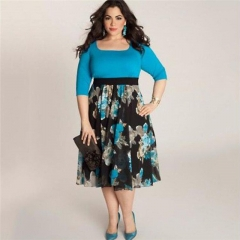 Fashion Plus Size Women Dress Spring Summer Half Sleeve Print Sexy Dressess Female Costumes blue xxl
