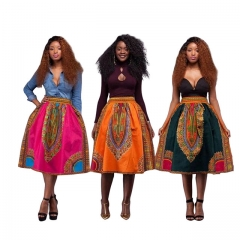 Fashion Vintage African Totem Women Skirt Spring Summer Print Casual Female Skirts Costumes black s