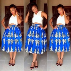 Fashion Vintage Women Clothing Sets 2 Pcs Tops & Skirt Summer Sleeveless Print Female Outfits blue s
