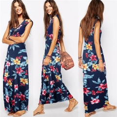 Fashion Female Clothes Dress Summer Sleeveless Print Casual Women Dresses Slim Vestidos dark blue m
