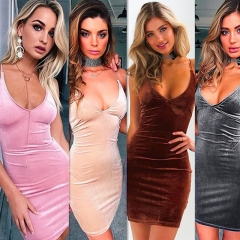 Sexy Backless V-Neck Women Dress Fashion Solid Bandage Summer Female Dresses Night Club Party Dress Pink s