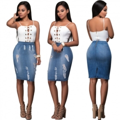 Fashion Personality Holes Bandage Women Clothes Suits Sling Tops & Denim Skirts Summer Female Sets blue s