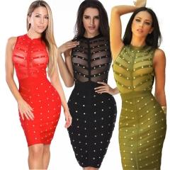 Fashion Summer Women's Clothes Sexy Mesh Beading Slim Women Dress Female Vestidos Red s