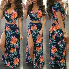 Fashion Sexy Women Clothes Suits 2 PCS/Sets Tops & Skirt Summer Print Deep V Female Clothing Sets Green s