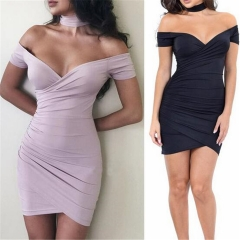 Fashion Irregular Wrapped Chest V Neck Sexy  Women Dress Summer Strapless Slim Party Dresses black s