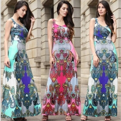 Fashion Vintage Print Women Maxi Dress Summer Sleeveless Sling High Waist Women Party Dresses red s
