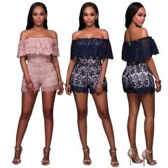 Fashion Lace Spliced Summer Women Jumpsuits Elegant Solid Off Shoulder Female Romper pink s