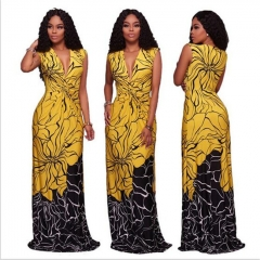 European American Elegant Print Women Dress Summer Sleeveless Sexy V Neck Female Maxi Dresses yellow s