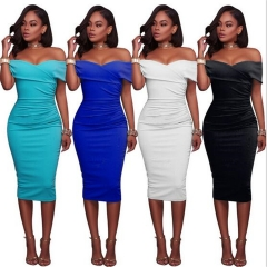 Fashion Wrapped Chest Off Shoulder Sexy Women Dress Summer Solid Slim Party Dresses Female Clothing white s