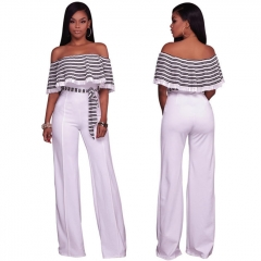 Fashion Spliced Off Shoulder Sexy Women Jumpsuits Summer High Waist Romper Pants Female Clothes white s