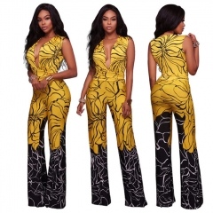 Fashion Deep V Neck Sexy Rompers Women Clothes Summer Print Full Length Pants Female Jumpsuits yellow s
