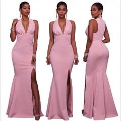 Fashion Sexy V Neck  Mermaid Party Dress Women Clothes Summer Split Ruffles Ladies Dresses pink s