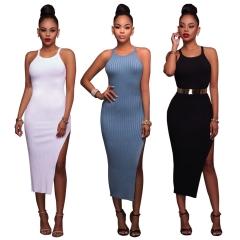 Fashion Split Sexy Knitting Women Dress Summer Sleeveless Round Neck Dresses Female Clothing black s