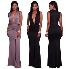 2017 Fashion Sexy Deep V Split Women Party Dress Summer Sleeveless Pleated Dresses Female Costumes black s