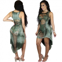Fashion Irregular Hollow Out Backless Sexy Dress Women Clothes Summer Sleeveless Female Dresses grass green s