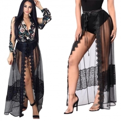 Fashion Sexy Women Clothes Sets 2 PCS Romper & Mesh Skirt Summer Full Sleeve Print Female Suits black m
