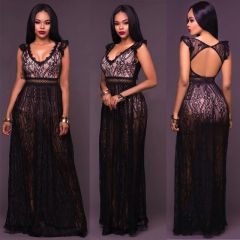 Fashion Lace Backless Sexy Dress Women Clothes Summer Sleeveless Spliced V Neck Female Dresses black s
