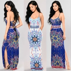 Fashion Vintage Print Maxi Dress Women's Clothing Summer Sling Split Hollow Out Bandage Female Dress light blue s