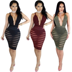 Fashion Deep V Backless Sexy Dresses Women Clothing Summer Mesh Perspective Night Club Dresses dark green s