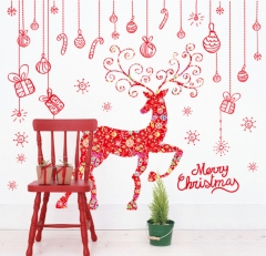 Creative Christmas elk window decorations living room kindergarten layout removable wall stickers as the picture 60*90