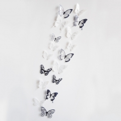 18 sets of 3d wall stickers children bedroom decoration backdrop of three-dimensional butterfly black&white one size