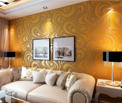 Hot modern minimalist lines non - woven 3d 3d wallpapers living room TV background wallpaper golden 70*840