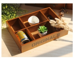Retro wooden large five grid storage box containing living room solid wood desktop storage box as the picture 36*25.6*6.7