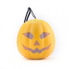 Wireless Pumpkin Speaker,Stereo Outdoor Recharging Bluetooth Speaker in Pumpkin Style for Halloween yellow one