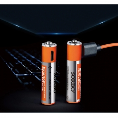 Hobby-Ace 4Pcs USB Rechargeable AA Battery 1.5V 1A 1 Hour Quick Charging Li-Po 4pcs one