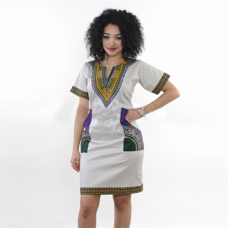 65966ba26fae6 2017 Summer Sexy Dashiki dress Print Shirt Dresses Femme Vintage ...