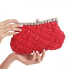 2017 New Weave Evening Clutch Bags Chain Handbags Women Wedding Bags Evening Purses Clutches Red One size