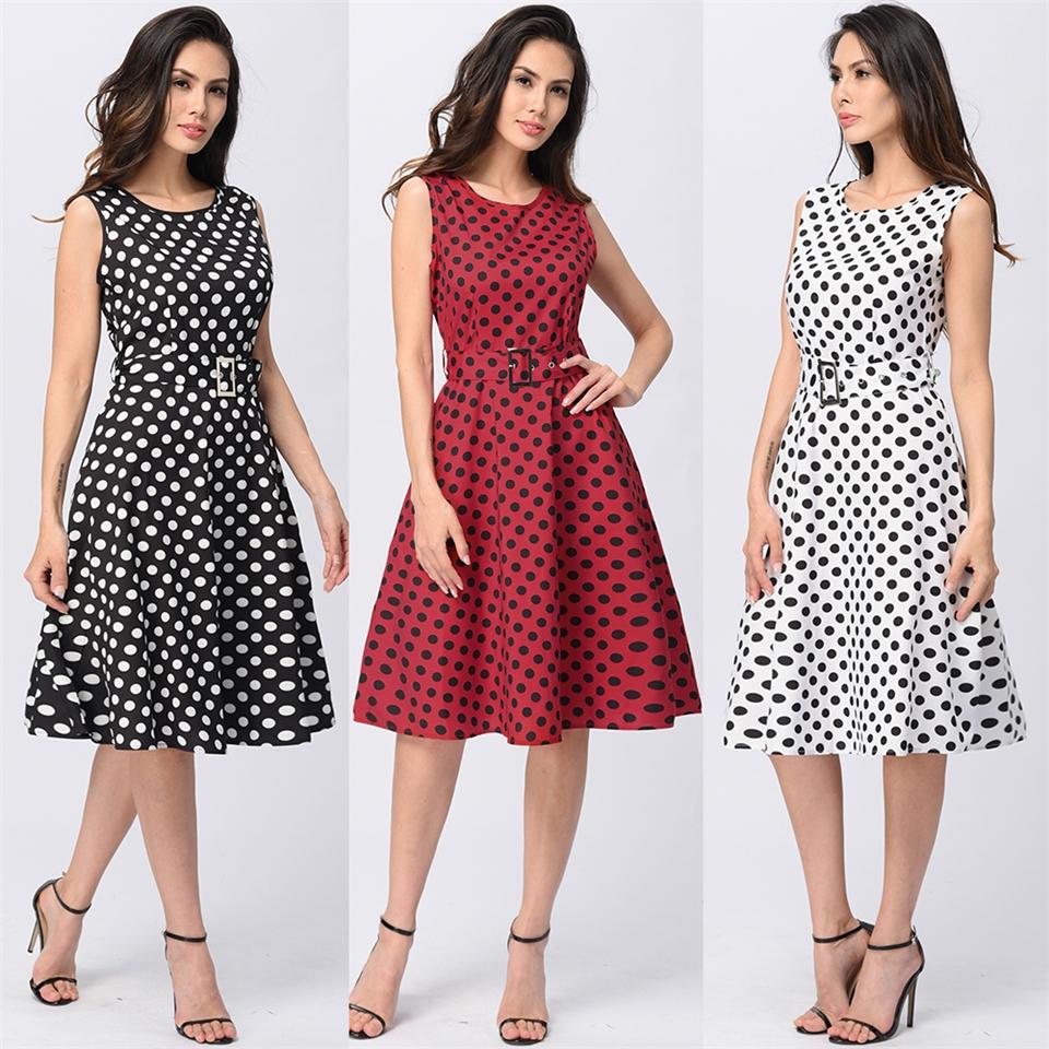 2017 Womens Vintage Polka Dot Dresses Work Office Casual Dress ... 8e36437f2806