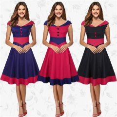 2017 Womens Vintage Patchwork Dress Casual Work Party Office Dress Sundress OL Style Dress Plus Size Red S