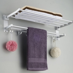 Alumimum Wall Mount Towel Rack and Hanging Bar Multifuctional Bathroom Accessory with Hook