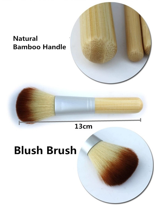 4PCS Natural Bamboo Handle Makeup Brushes Set Cosmetics Tools Kit Powder Blush as picture 4