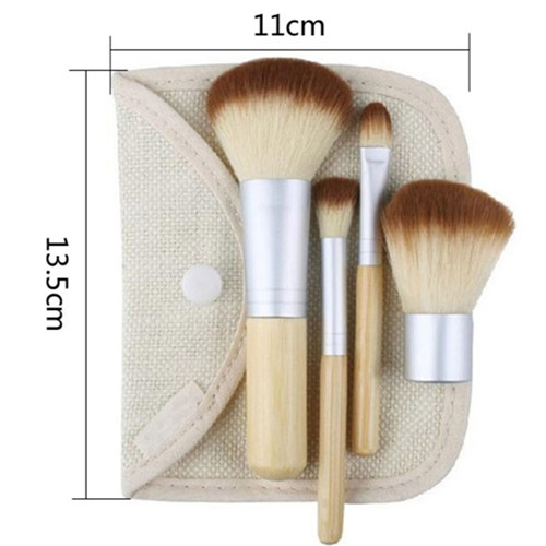 4PCS Natural Bamboo Handle Makeup Brushes Set Cosmetics Tools Kit Powder Blush as picture 1