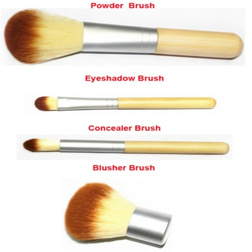 4PCS Natural Bamboo Handle Makeup Brushes Set Cosmetics Tools Kit Powder Blush as picture 2