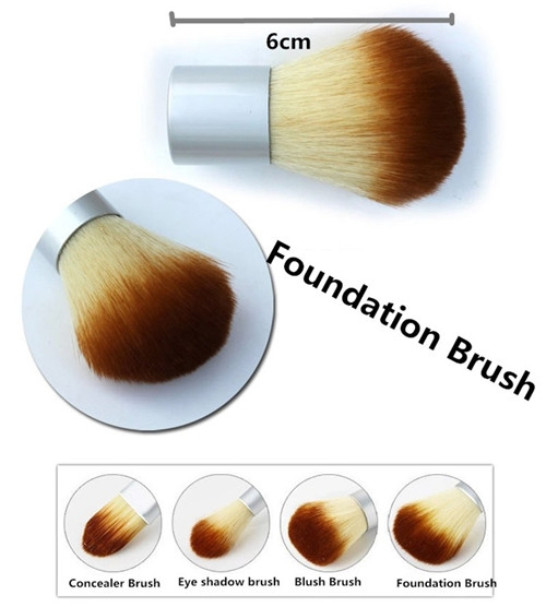 4PCS Natural Bamboo Handle Makeup Brushes Set Cosmetics Tools Kit Powder Blush as picture 3