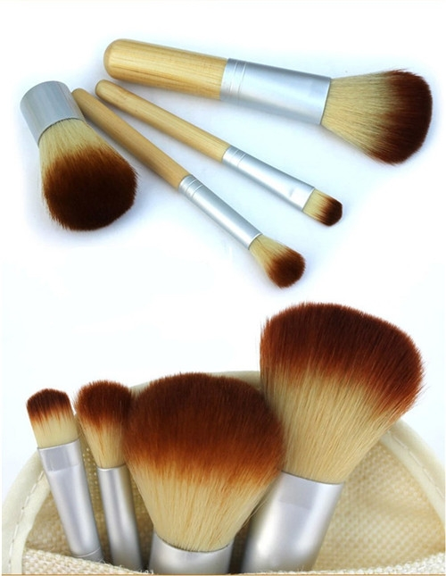 4PCS Natural Bamboo Handle Makeup Brushes Set Cosmetics Tools Kit Powder Blush as picture 5