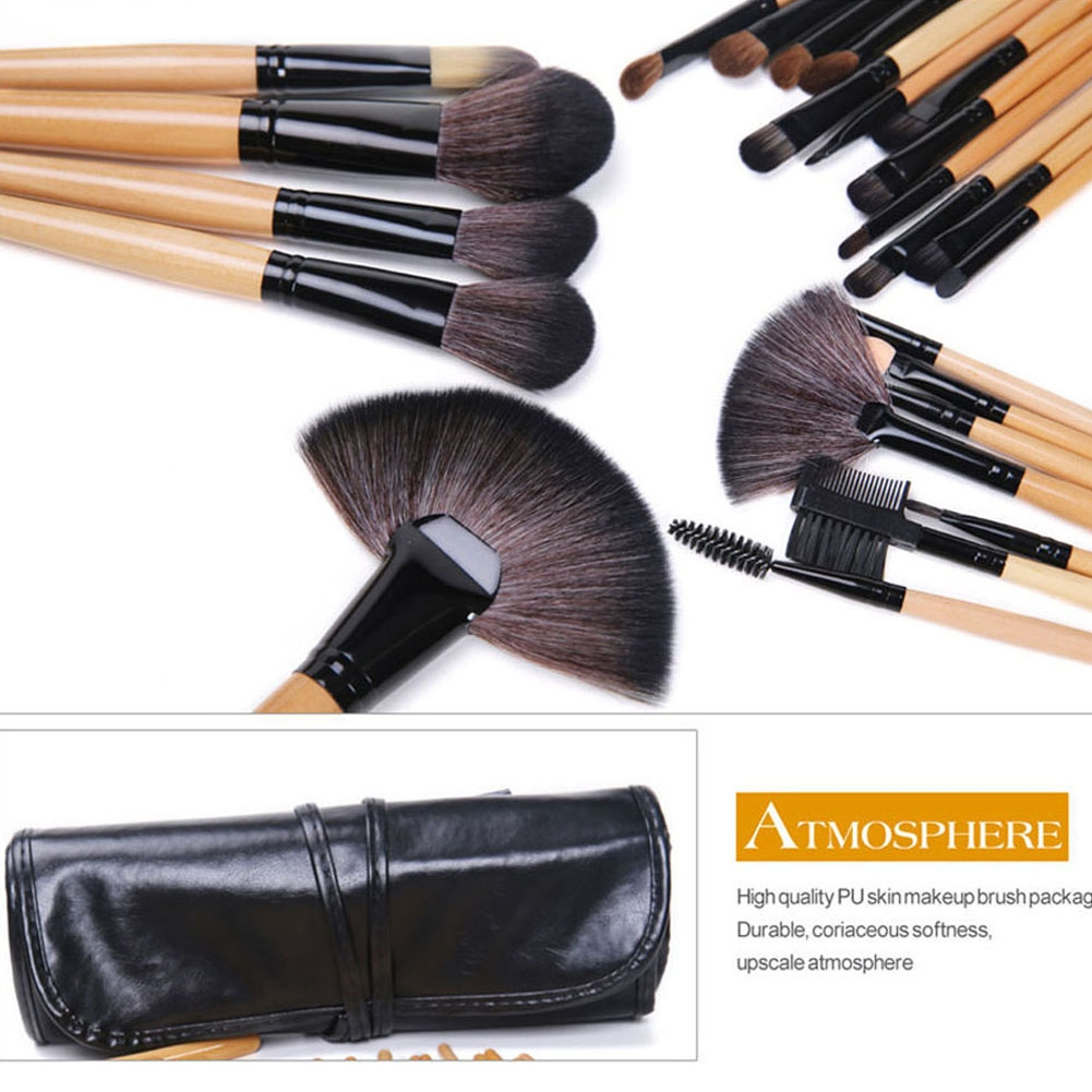 24 Pcs Wood Makeup Brushes Cosmetic Tool Eyeshadow Powder Consealer  Set black 11