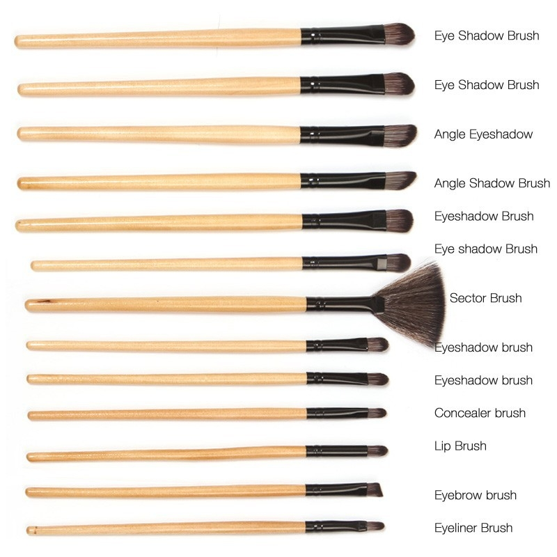 24 Pcs Wood Makeup Brushes Cosmetic Tool Eyeshadow Powder Consealer  Set black 9