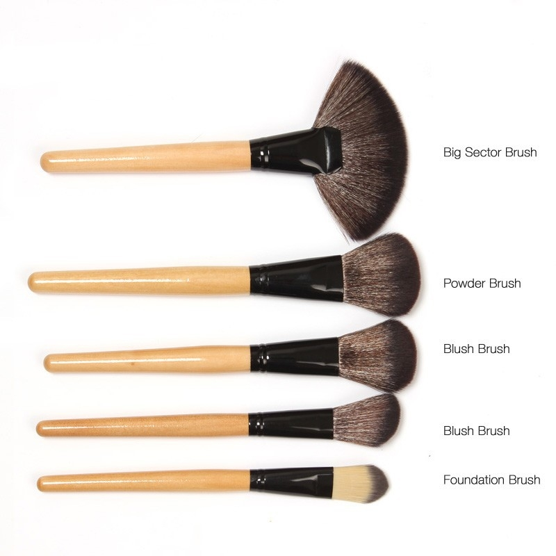 24 Pcs Wood Makeup Brushes Cosmetic Tool Eyeshadow Powder Consealer  Set black 8