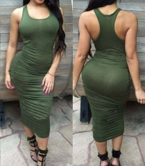 Women's Elegant Sexy Fold Sleeveless Long Vest Dresses Army Green s