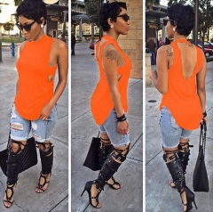 Fashion Women's Backless Hollow Out Sleeveless Irregular Hem Tops T-shirts Orange S