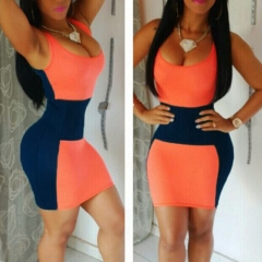 Sexy Fashion Women's Sleeveless Package Hip Contrast Color Mini Dresses orange m