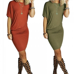 Women's Fashion Round Neck Short Sleeve Fold Irregular Knee Length Dresses army green xl