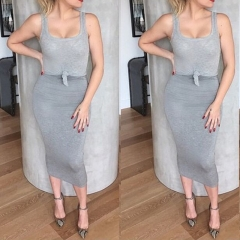 Women's Casual Grey Sleeveless Crop Top and Skirt set grey s