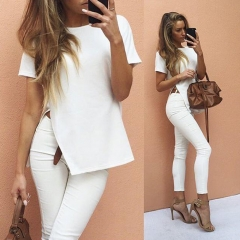 Women's Sexy Side High Split Round neck Short Sleeve T-shirt tops White s